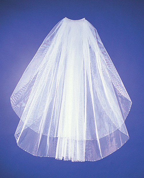 Two-Tier Bridal Wedding Veils with Crystal Detail on Edge