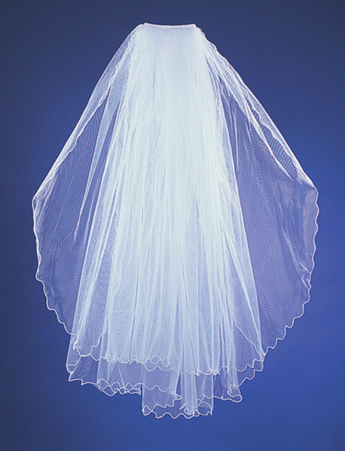 "28""x32"" Two-Tier Bridal Wedding Veils with Pencil Edge"