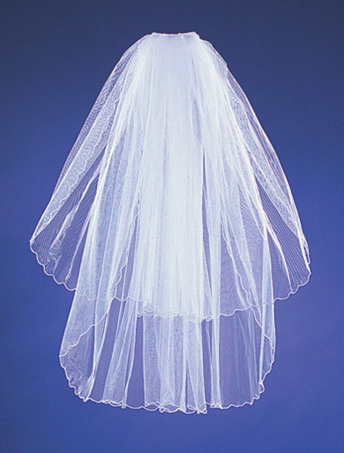 "20""x26"" White Two-Tier Bridal Wedding Veils with Pencil Edge"