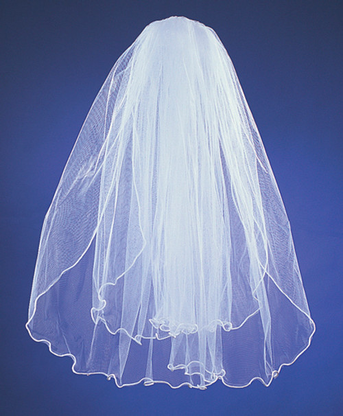 "20""x26"" Two-Tier Bridal Wedding Veils with Rattail Edge"