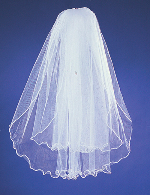 "20""x26"" Two-Tier Bridal Wedding Veils with Rattail Edge 1"