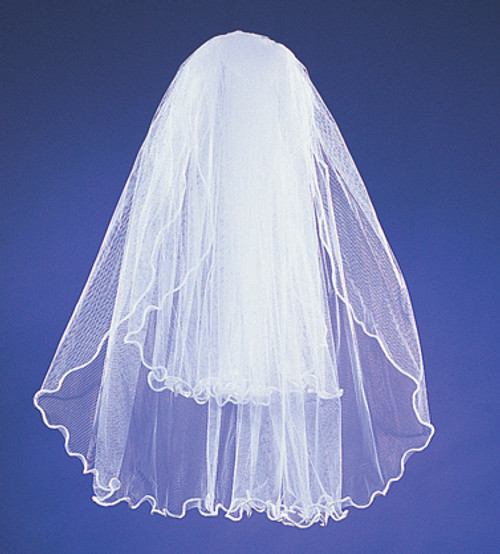 "20""x26"" White Two-Tier Bridal Wedding Veils with Rattail Edge"