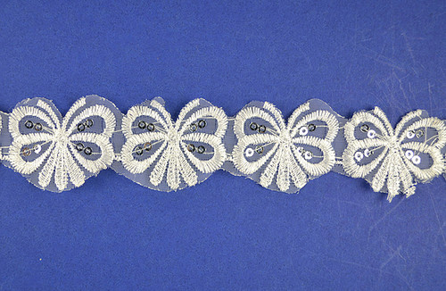 "1.5"" x 30 Yards Wholesale White Butterfly Organza Lace Trims"