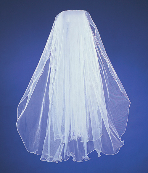 "28""x32"" Two-Tier Bridal Wedding Veils with Wired Edge"