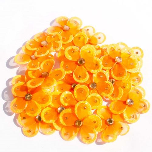 """2.5"""" Orange Wired Organza Flower - Pack of 25"""