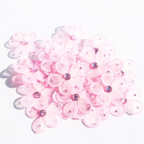 """2.5"""" Pink Wired Organza Flower - Pack of 25"""