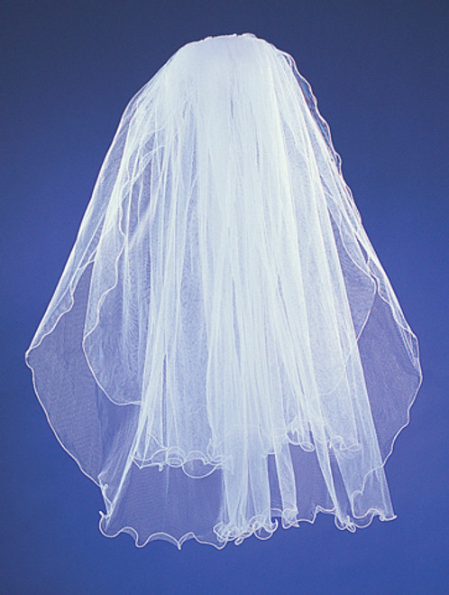 "25""x29"" Two-Tier Bridal Wedding Veils with Wired Edge"