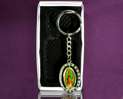Rotatable Guadalupe Metal Keychain/Souvenir for Religious Purposes
