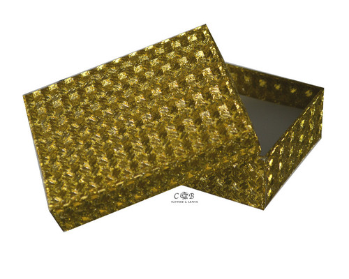 """3.5"""" Gold Glittery Paper Gift Box - Pack of 12"""
