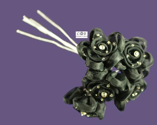 "1"" Black Organza Ribbon Edge Flowers with Rhinestone"