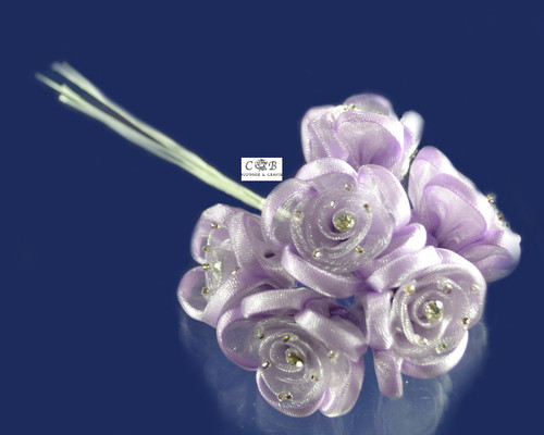 "1"" Lavender Organza Ribbon Edge Flowers with Rhinestone"