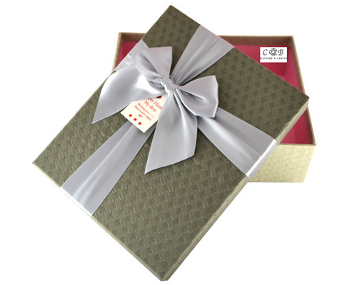 """8"""" Grey/Ivory Paper Gift Box with Ribbon - Pack of 6"""