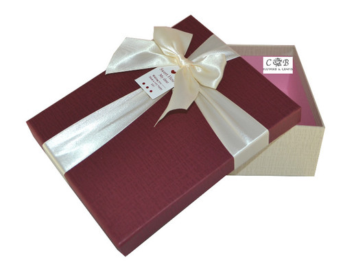 """8"""" Burgundy/Ivory Paper Gift Box with Ribbon - Pack of 6"""