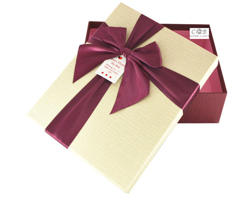 """8"""" Ivory/Burgundy Paper Gift Box with Ribbon - Pack of 6"""