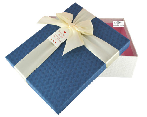 """8"""" Navy/White  Paper Gift Box with Ribbon - Pack of 6"""