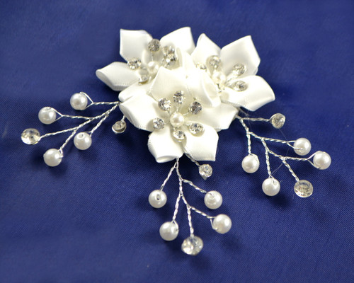 "1.5"" White Satin Flower Sticker with Rhinestone, Pearls and Sprays - Pack of 12"