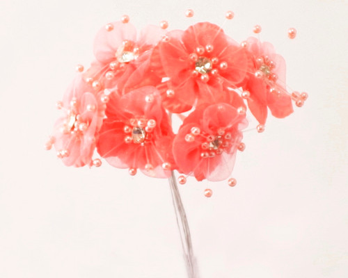 "1.5"" Coral Organza Flowers with Rhinestones - Pack of 72"