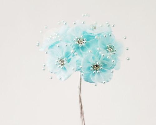 "1.5"" Aqua Organza Flowers with Rhinestones - Pack of 72"