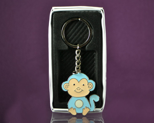 "4"" Blue Monkey Metal  Keychain - Pack of 12"
