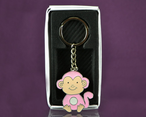 "4""  Pink Monkey Metal Keychain - Pack of 12"