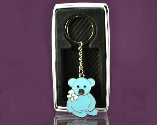 "4""  Blue Teddy Bear Metal Keychain - Pack of 12"