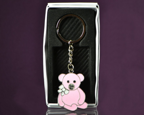 "4""  Pink Teddy Bear Metal Keychain - Pack of 12"