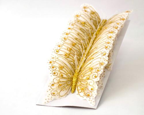 "4"" White-Gold Glitter Butterfly Cake Topper - Pack of 12"