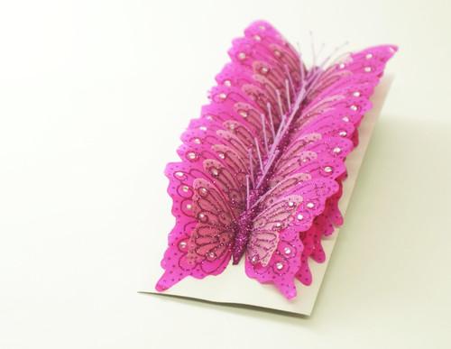"""4"""" Fuchsia Glitter Butterfly Cake Topper - Pack of 12"""