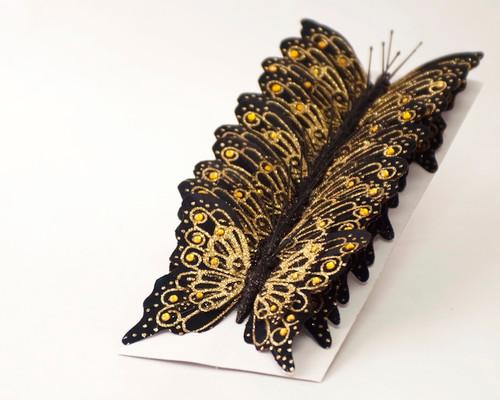 """4"""" Black-Gold Glitter Butterfly Cake Topper - Pack of 12"""