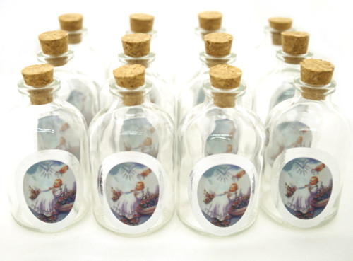 "50ml ""Baptism"" Round Glass Bottle with Cork Top - Set of 12 bottles"