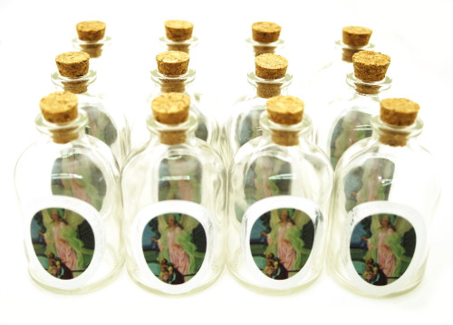 "50ml ""Angel"" Round Glass Bottle with Cork Top - Set of 12 bottles"