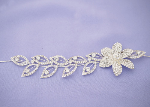 "10"" Silver Chrystal Bridal Wedding Hair Band with Rhinestone Blooms and Leaves"