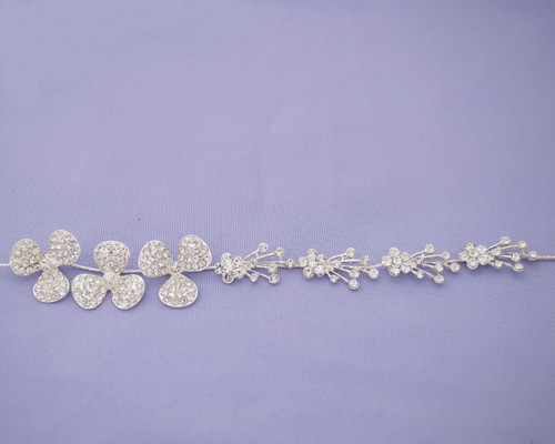 "10"" Crystal Bridal Hair Band with Rhinestone Blooms"