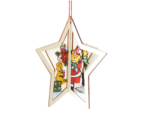 "3.5"" Wooden Christmas Tree Ornament ""Christmas Bear"" - Pack of 12"