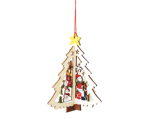 "4.5"" Wooden Christmas Tree Ornament ""Christmas Tree"" - Pack of 12"