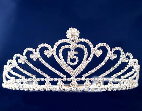 "Silver Crystal Rhinestone Tiara ""Miss Quinceanera""- Pack of 6 (TX004)"