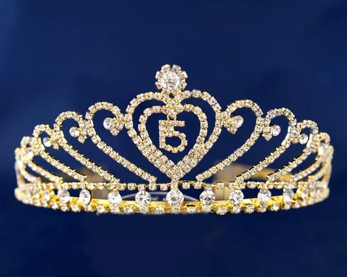 "Gold Crystal Rhinestone Tiara ""Miss Quinceanera""- Pack of 6 (TX004)"
