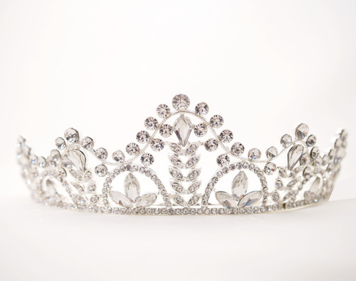 Silver Crystal Rhinestone Tiara with Leaves - Pack of 11