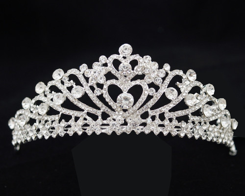 "Silver Crystal Rhinestone Tiara ""Double Heart"" - Pack of 12 (TL099)"