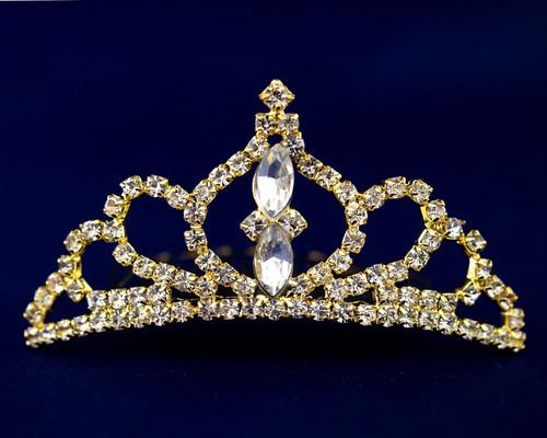 Gold Crystal Rhinestone Mini Tiara - Pack of 12 (TM045)