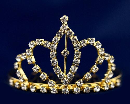 Gold Crystal Rhinestone Mini Tiara - Pack of 12 (TS015)