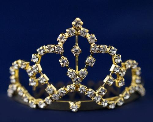 Gold Crystal Rhinestone Mini Tiara - Pack of 12 (TS016)