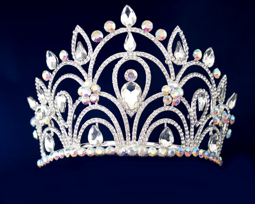 Irisdescent Silver Crystal Rhinestone Tiara  - Pack of 12 (TV02)