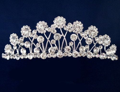 Silver Crystal Rhinestone Tiara  - Pack of 12 (TM098)