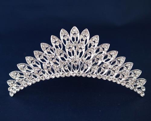 Silver Crystal Rhinestone Tiara  - Pack of 12 (TM093)
