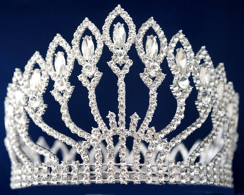Silver Crystal Rhinestone Queen Crown  - Pack of 4 (TY009)