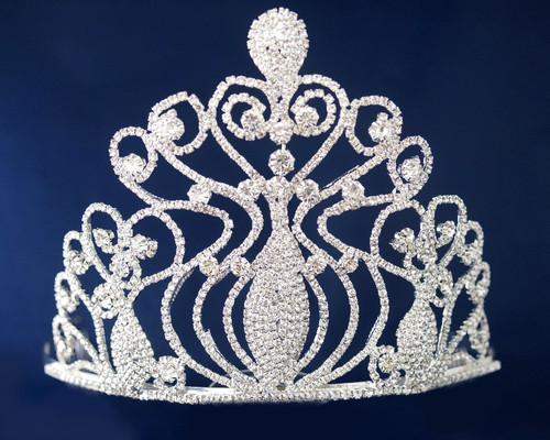 Silver Crystal Rhinestone Queen Crown  - Pack of 11 (TV022)