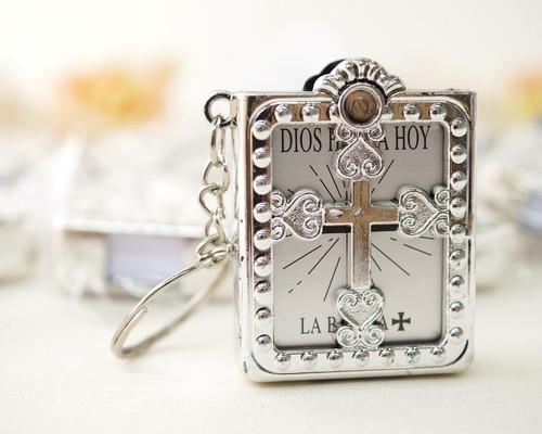 "1.5"" Silver Spanish Mini Bible Keychain Favor - Pack of 12"