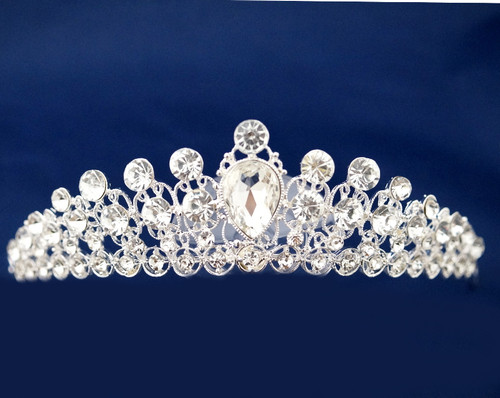 Silver Filigree Crystal Rhinestone Tiara  - Pack of 12 (TL098)