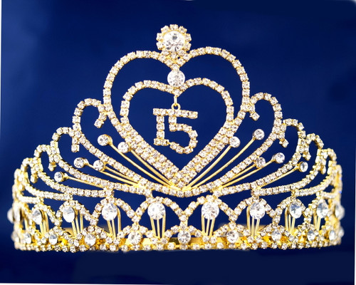 """Gold Crystal Rhinestone Tiara """"Mis Quince Anos""""- Pack of 4 (TX002)"""
